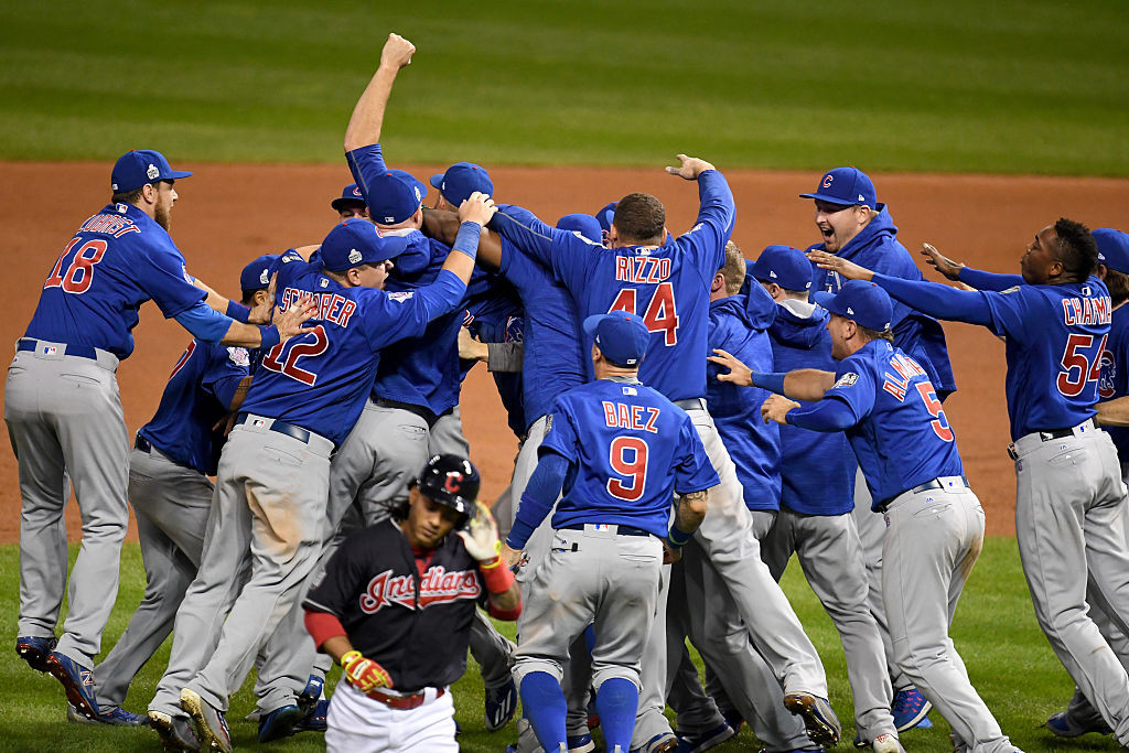 CLEVELAND, OH - NOVEMBER 02:  The Chicago Cubs celebrate after defeating the Cleveland Indians 8-7 in Game Seven of the 2016 World Series at Progressive Field on November 2, 2016 in Cleveland, Ohio. The Cubs win their first World Series in 108 years.  (Photo by Jason Miller/Getty Images)