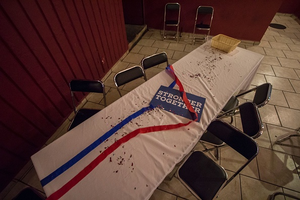 A deserted table with a sign in support of U.S. Democratic presidential candidate Hillary Clinton is seen during a Democratic party event on Election Night 2016.