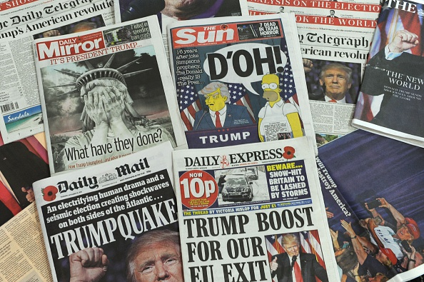 A selection of the front pages of the British national newspapers showing the reaction following Donald Trump's shock US presidential victory.