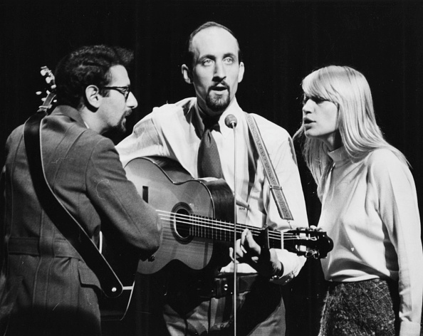 Peter Yarrow, Noel Paul Stookey and Mary Travers performing as 'Peter, Paul and Mary' during rehearsals for the Royal Variety Show at the London Palladium, November 8th 1965.
