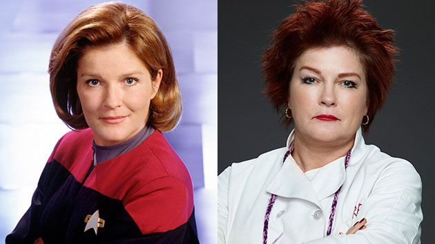 """Left: Kate Mulgrew stars as Captain Kathryn Janeway in """"Star Trek: Voyager."""" Her character was the first woman to command a Federation Starship in the more than 30-year history of """"Star Trek."""" Right: Mulgrew stars as """"Red"""" in the Netflix series """"Orange is the New Black."""" The show's fifth season will air in 2017."""