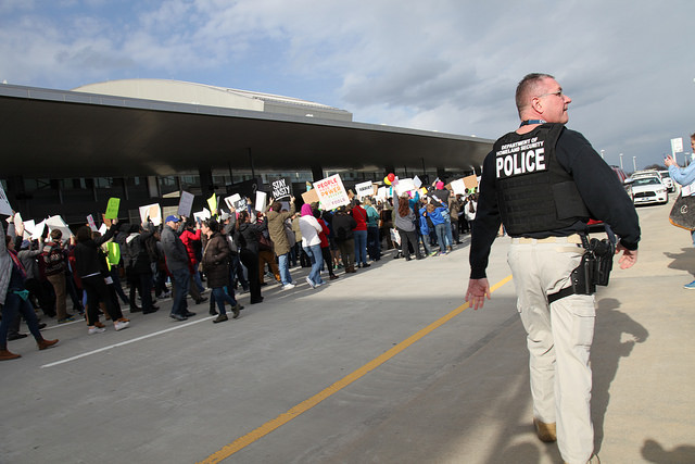 Demonstrators gathered at Raleigh-Durham International Airport on January 29, 2017 to protest President Trump's executive order barring entry to the U.S. of citizens from seven predominately Muslim nations.