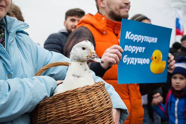 Thousands of Russians took to the streets  Sunday in anti-corruption protests. A woman in St. Petersburg holds a duck, a symbol of alleged lavish spending by the country's prime minister, Dmitry Medvedev.