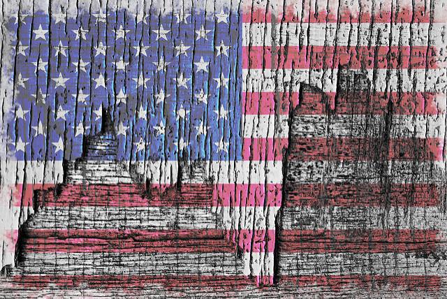 Old Glory, Patriotic Rustic Peeling American Flag