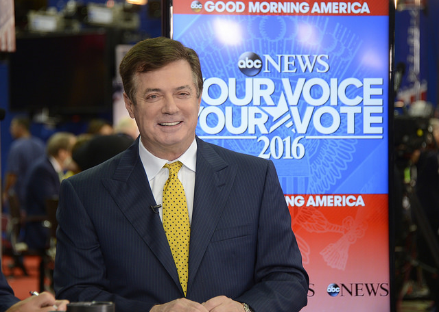 Paul Manafort  is one of three former Trump advisers who have been charged in Robert Mueller's Russian probe.  He is pictured here appearing on ABC News  during the 2016 Republican National Convention, when he was  Trump's campaign manager.