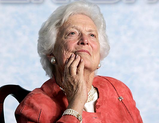 Former first lady Barbara Bush in a photo taken on February 20, 2010.