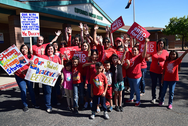 Teachers in Arizona stage a rally before walking out of their classrooms to demand more funding for public schools.
