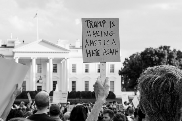 Protesters gathered in front of the White House last August to show their opposition to the white supremacists rally in  Charlottesville.