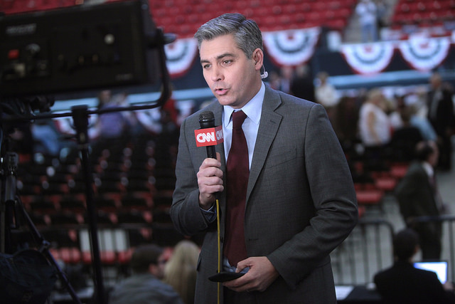 Jim Acosta speaking at a campaign rally for Donald Trump at the South Point Arena in Las Vegas, Nevada on Feb. 22, 2016. CNN, and Jim Aoctsa, himself, have been frequent targets of the president's attacks on the media.