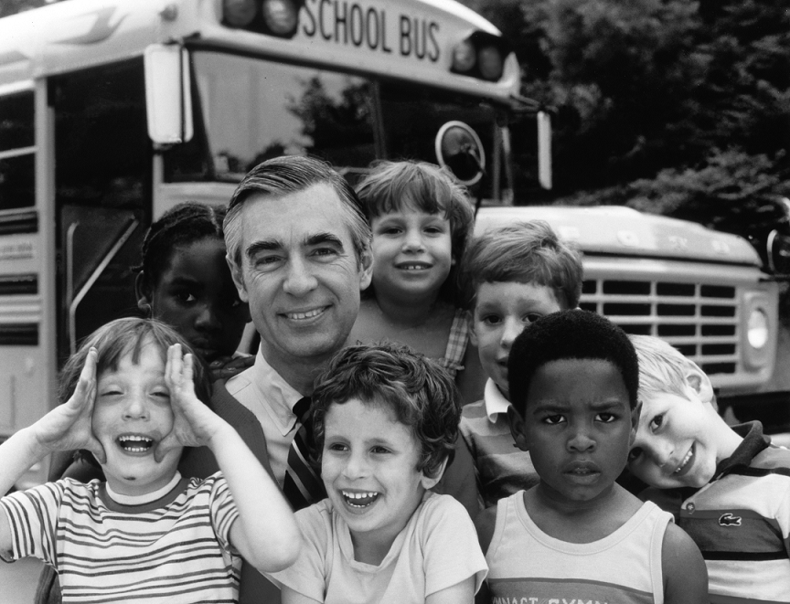 "Fred Rogers is portrayed by actor Tom Hanks in the new film, ""A Beautiful Day in the Neighborhood."""