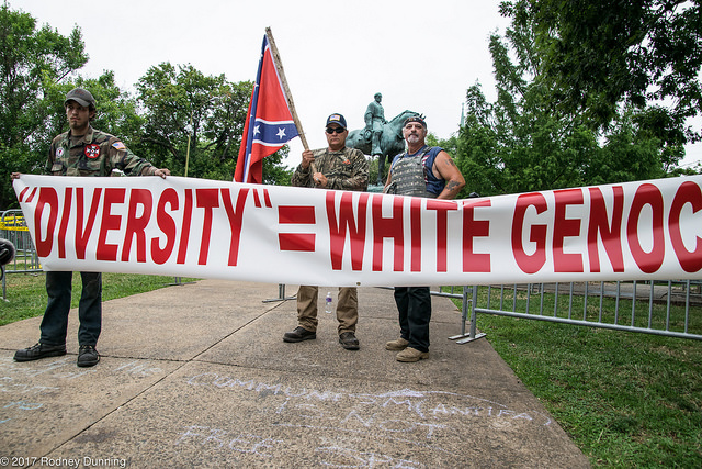 "White nationalist protesters hold a banner at the ""Unite the Right"" rally in Charlottesville, VA on August 12, 2017. The author of a new piece in ""The Atlantic"" says these ideas have deep roots in America."