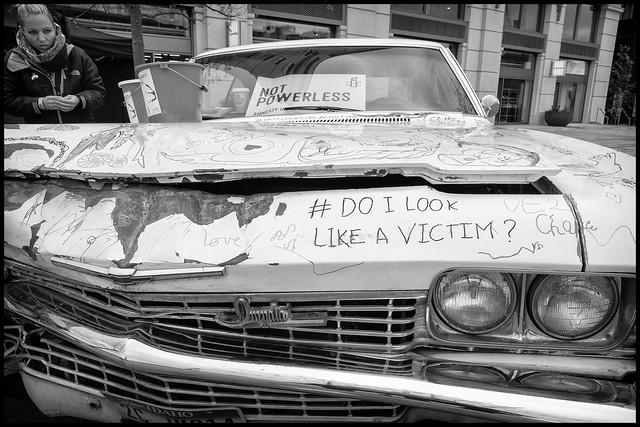 "This Chevrolet Impala was wrecked by an abusive ex-boyfriend of artist Imogen Paton. Imogen has turned the car into a piece of ""charity art"" with the aim of helping victims of domestic violence."