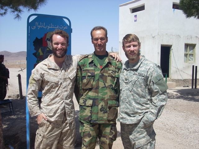 Elliot Ackerman (far left) in Afghanistan in 2008.