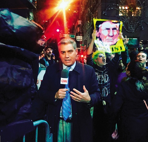 CNN's Jim Acosta reports from outside of Trump Tower on November 9, 2016.