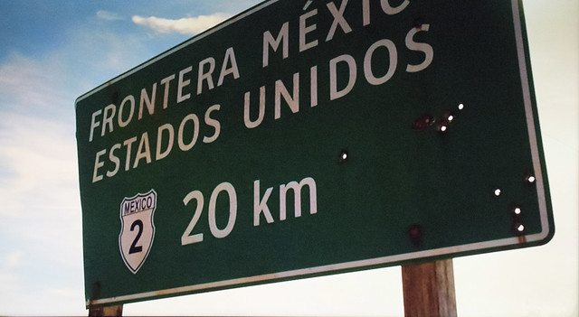 A sign in Mexico announcing 20 kilometers to the U.S. border.