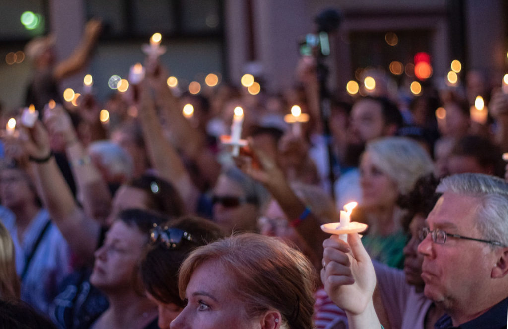 A vigil in the aftermath of shootings in Dayton, OH and El Paso, TX.