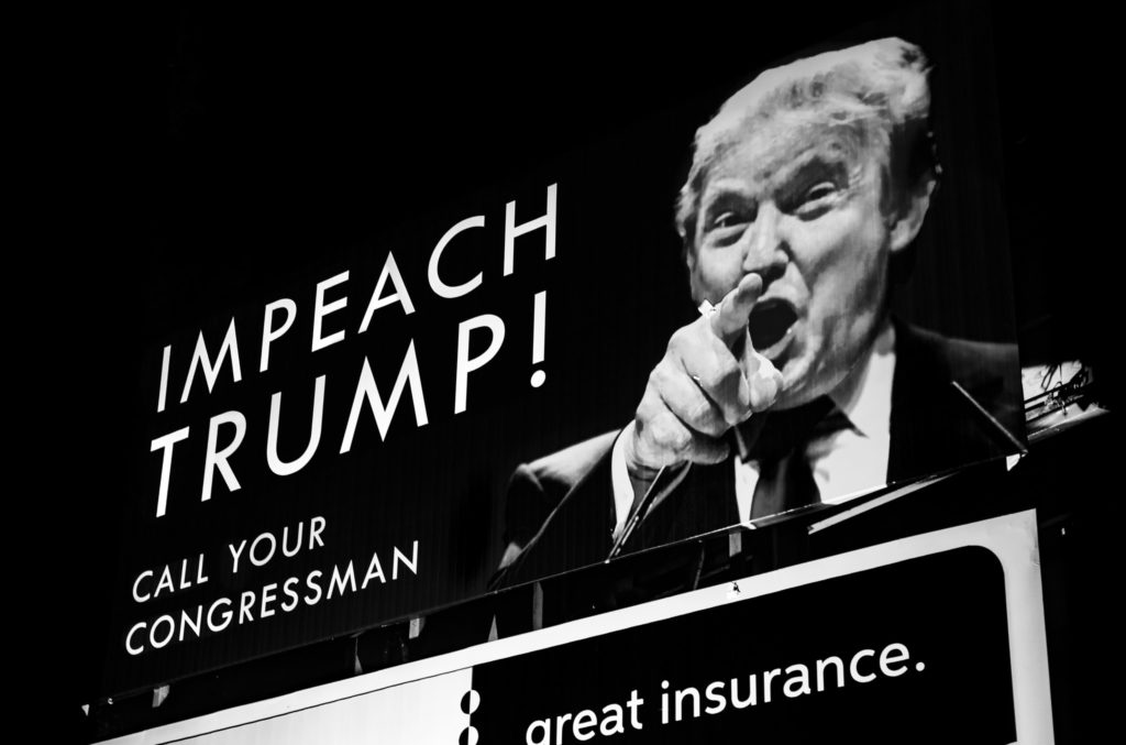 A billboard in Northern Michigan in August 2017 calling for President Trump's impeachment.  On Tuesday, House Speaker Nancy Pelosi announced a formal impeachment inquiry.