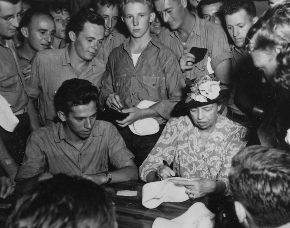 "Eleanor Roosevelt visiting troops in the Pacific during World War II. New York Times op-ed columnist Gail Collins says the first lady had an ""amazing middle age."""