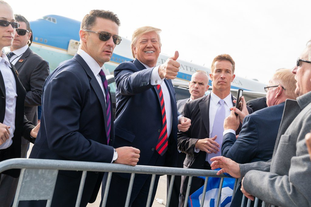 President Donald Trump disembarks Air Force Two Monday, Oct. 28, 2019, at O'Hare International Airport in Chicago. On Thursday the House voted to formalize the impeachment inquiry into the president.