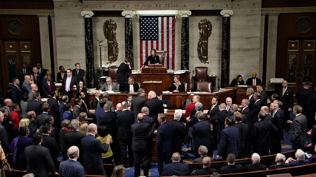 On December 18, 2019, United States House of Representatives votes to adopt the articles of impeachment, accusing Donald Trump of abuse of power and obstruction of Congress.