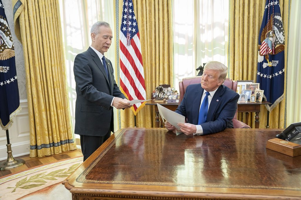 Pres. Donald J. Trump greets Chinese Vice Premier Liu He Wednesday, Jan. 15, 2020, in the Oval Office of the White House.