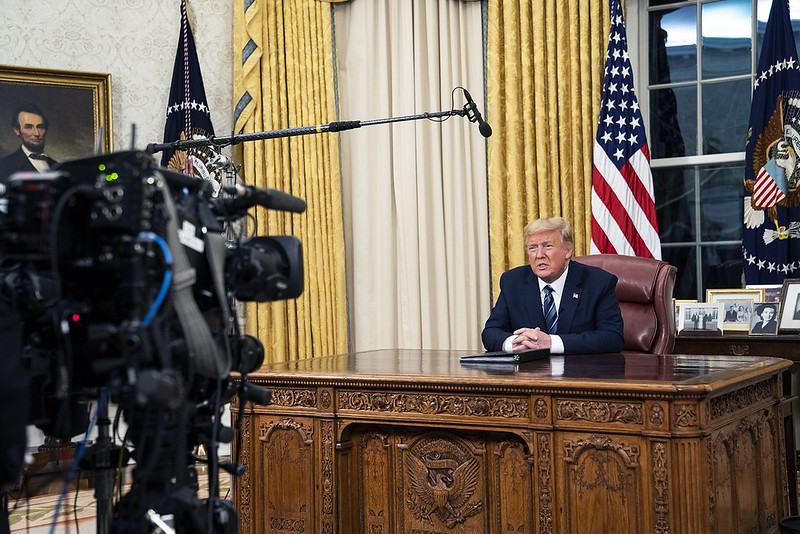 President Trump addresses the country from the Oval Office of the White House on Wednesday.