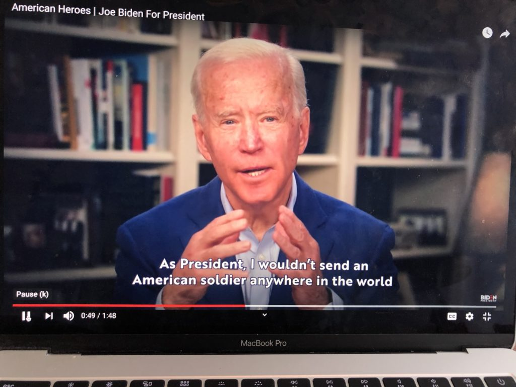 Democratic presidential candidate Joe Biden in a video released from his home on March 31.