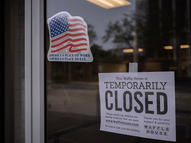 A Waffle House in Decatur, GA is closed due to coronavirus.