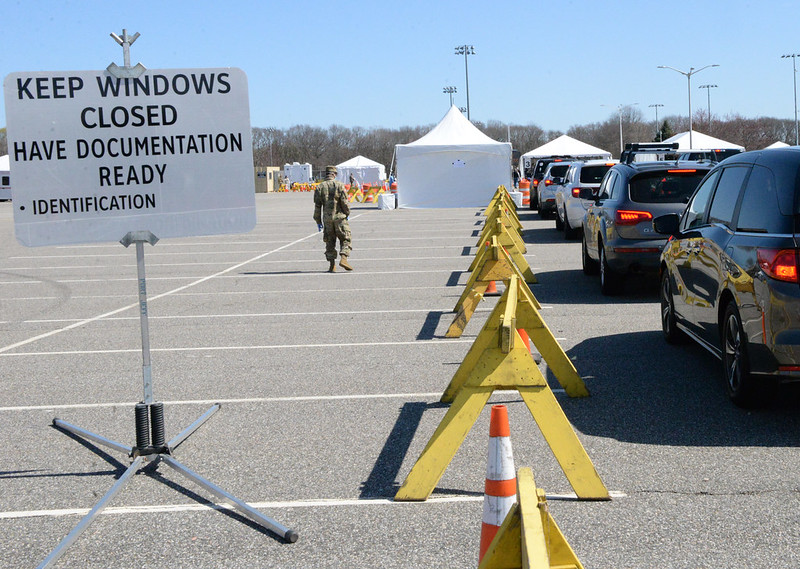 A covid-19 drive-thru testing site in Stony Brook, New York.