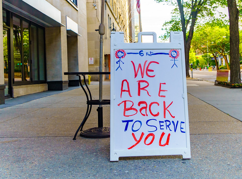 A sign in Washington, DC where Mayor Muriel Bowser announced reopening could begin next week.