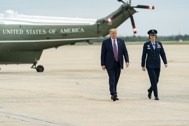 President Trump is met and escorted from Marine One on Tuesday, May 5, 2020.