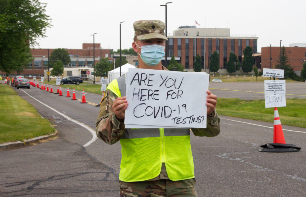 A lack of reliable testing has hampered U.S. efforts to contain the coronavirus from the beginning. Last month, a member of the U.S. Army staffed a drive-thru Covid-19 test site at in Rochester, NY.