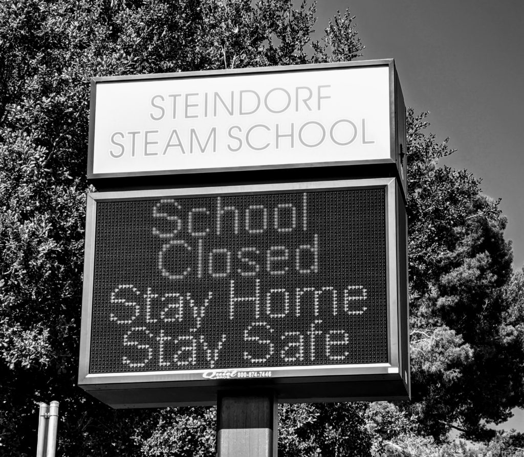 A photo taken on May 12 of a school in San Jose, Calif. A recent survey found that 94% of school superintendents said they were not ready to  announce their plans for when they would resume in-person instruction.