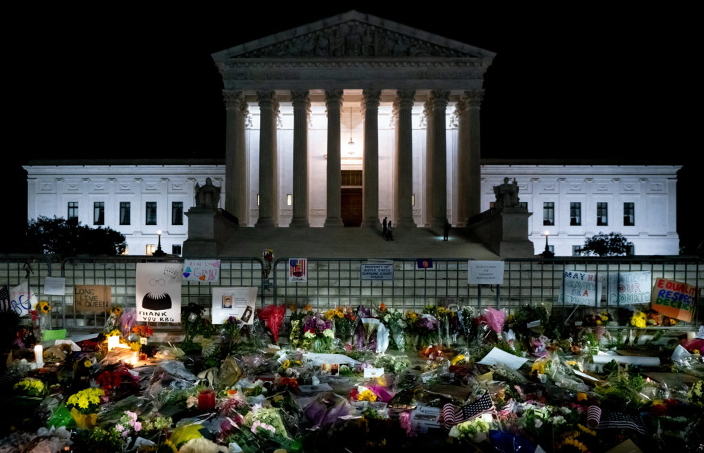A memorial for Ruth Bader Ginsburg in front of the Supreme Court.