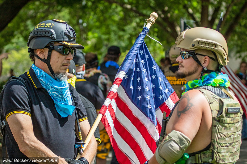 Members of far right groups, like the Proud Boys, gather in Columbus, Ohio this past August.