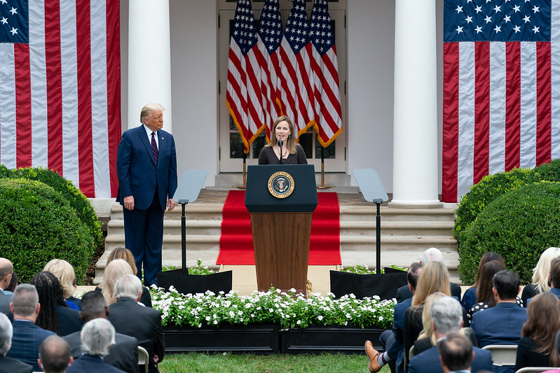 Judge Amy Coney Barrett delivers remarks after President Donald Trump announced her as his nominee for Associate Justice of U.S. Supreme Court.