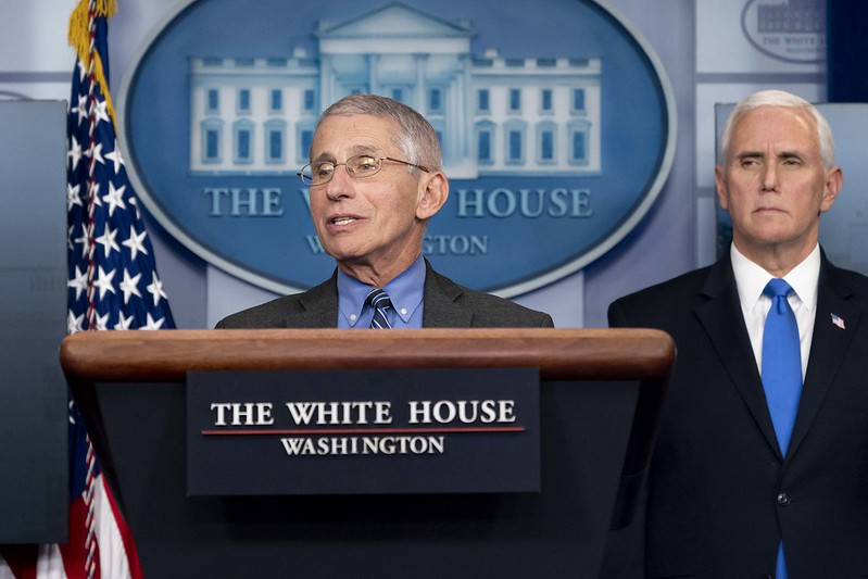 Dr. Anthony Fauci, director of the National Institute of Allergy and Infectious Diseases, and a member of the White House Coronavirus Task Force, delivers remarks last April.