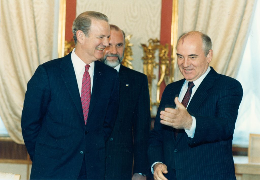 Baker worked closely with Mikhail Gorbachev to manage the end of the Cold War and reunification of Germany.