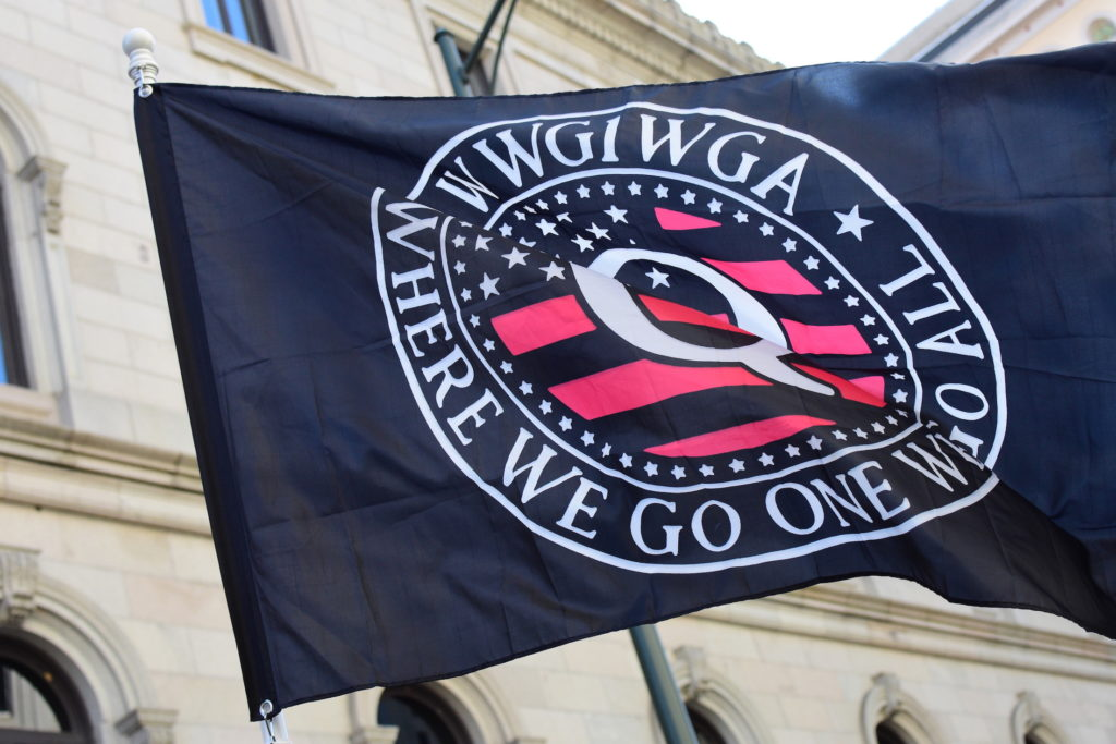 A QAnon flag at a 2nd Amendment rally in Richmond, Virginia in January 2020.