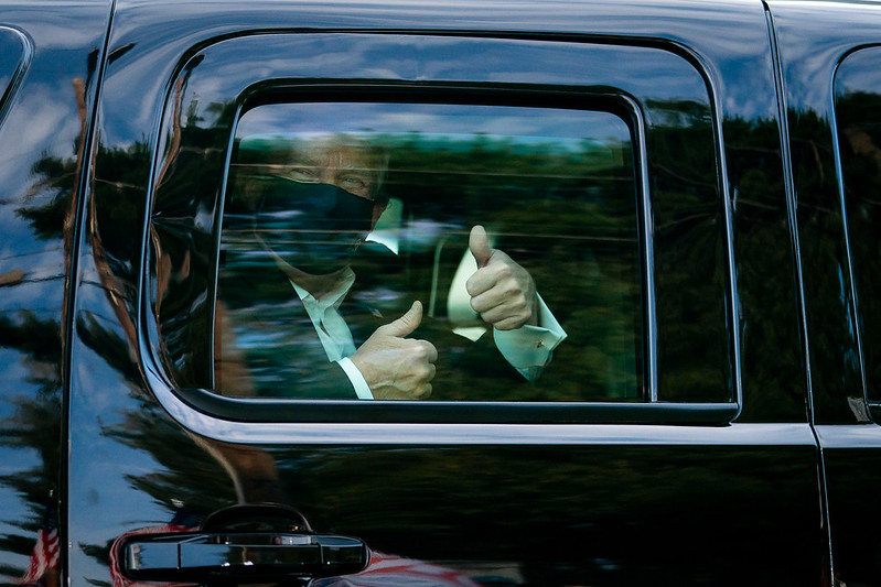 President Trump during a drive outside of Walter Reed National Military Medical Center Sunday, Oct. 4, 2020, in Bethesda, Md.