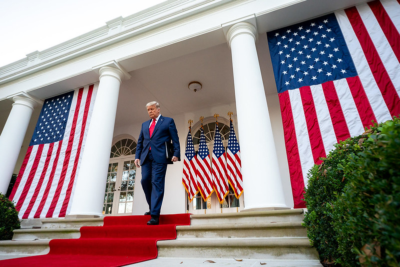 President Donald Trump last Friday in the Rose Garden of the White House.