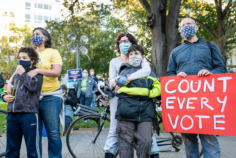 Protestors gather in Washington, D.C. on November 4 as the presidential election vote count continued.