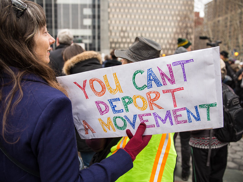 A woman holds a sign at a rally in New York on February 10, 2018.