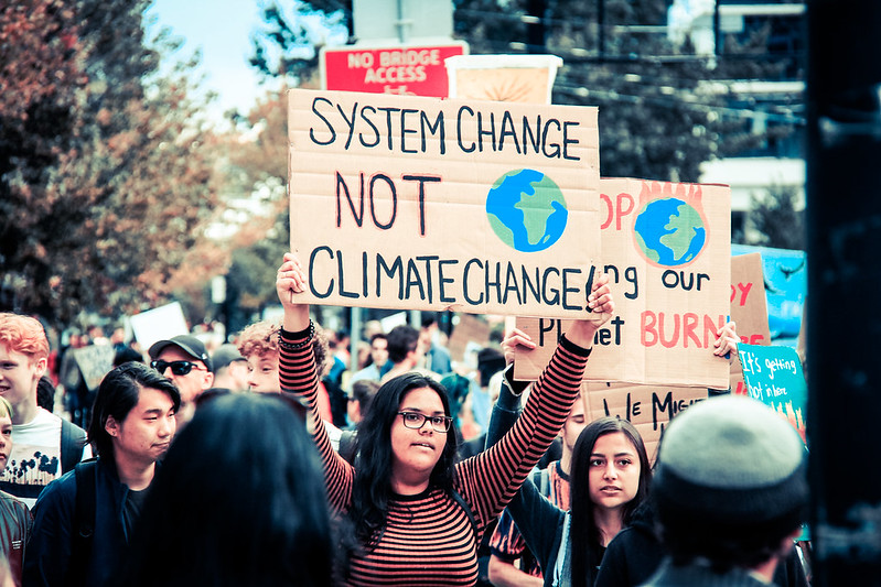 A demonstrator takes part in the international Youth Climate Strike on September 27, 2019.
