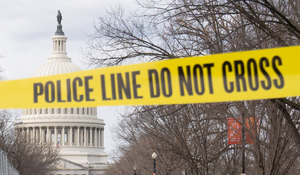 Police tape blocks access to the U.S. Capitol on January 18, 2021.