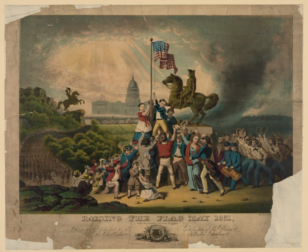 """Raising the Flag,"" May 1861. Historian Heather Cox Richardson connects our country's present to our past in her online newsletter, ""Letters from an American."""