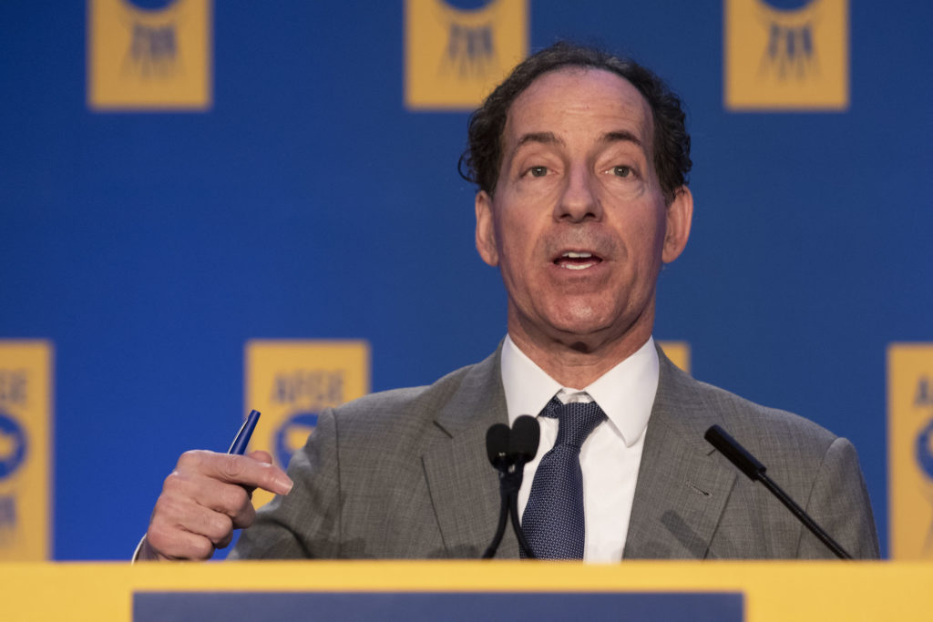 Rep. Jamie Raskin of Maryland speaks at a conference for the federal government workers' union  in 2020. Raskin led the Democratic House impeachment managers in the Senate trial of Donald Trump.