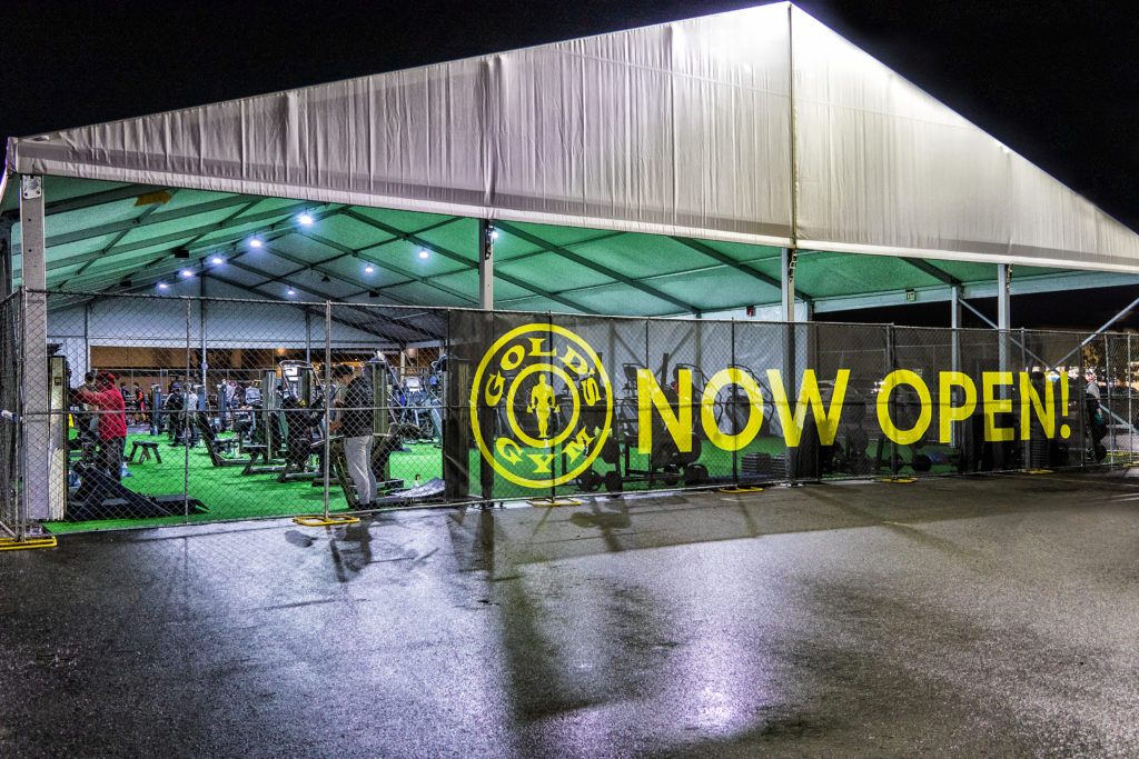 A Gold's Gym opened in a Montclair, California parking lot located directly in front of the gym's permanent building.