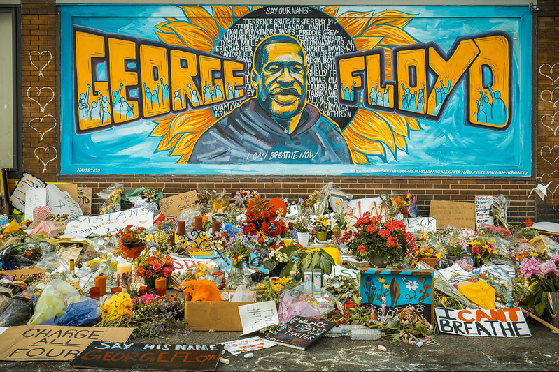 A memorial for George Floyd in Minneapolis, whose death on May 25, 2020, sparked national outrage and protests.