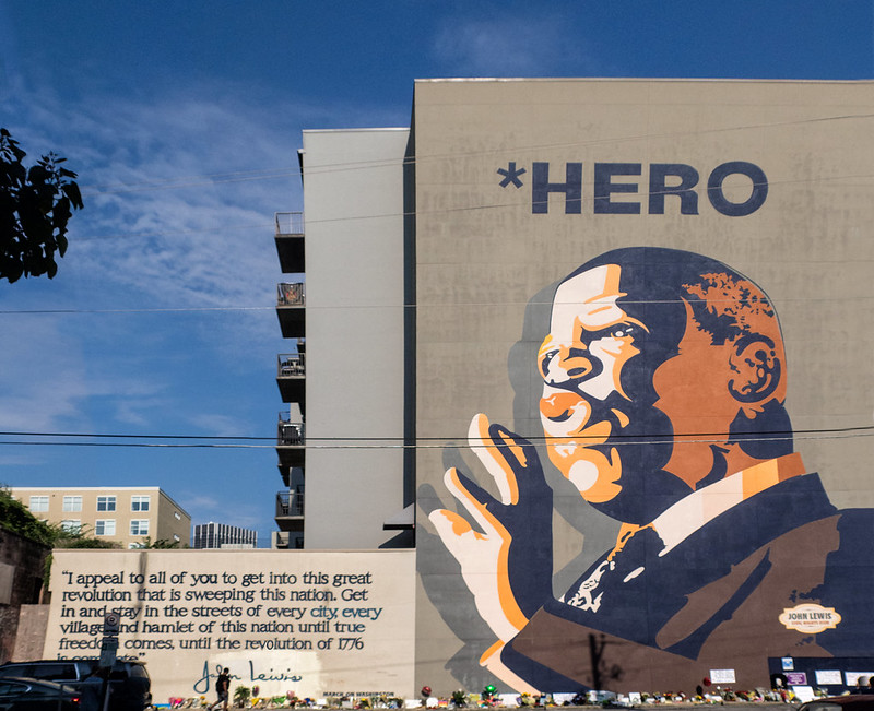 A mural of Congressman John Lewis, who died July 17, 2020.